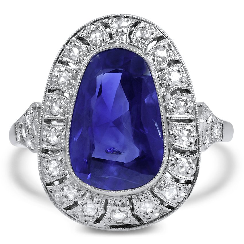 Art Deco Reproduction Sapphire Cocktail Ring