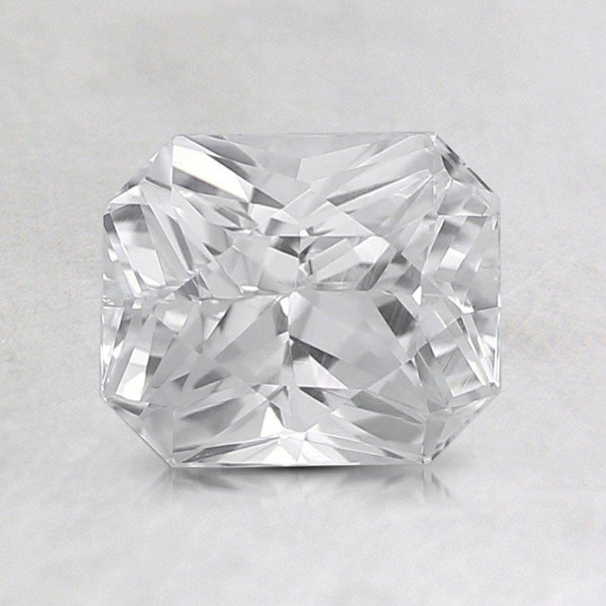 6.7X5.6mm White Radiant Sapphire, top view