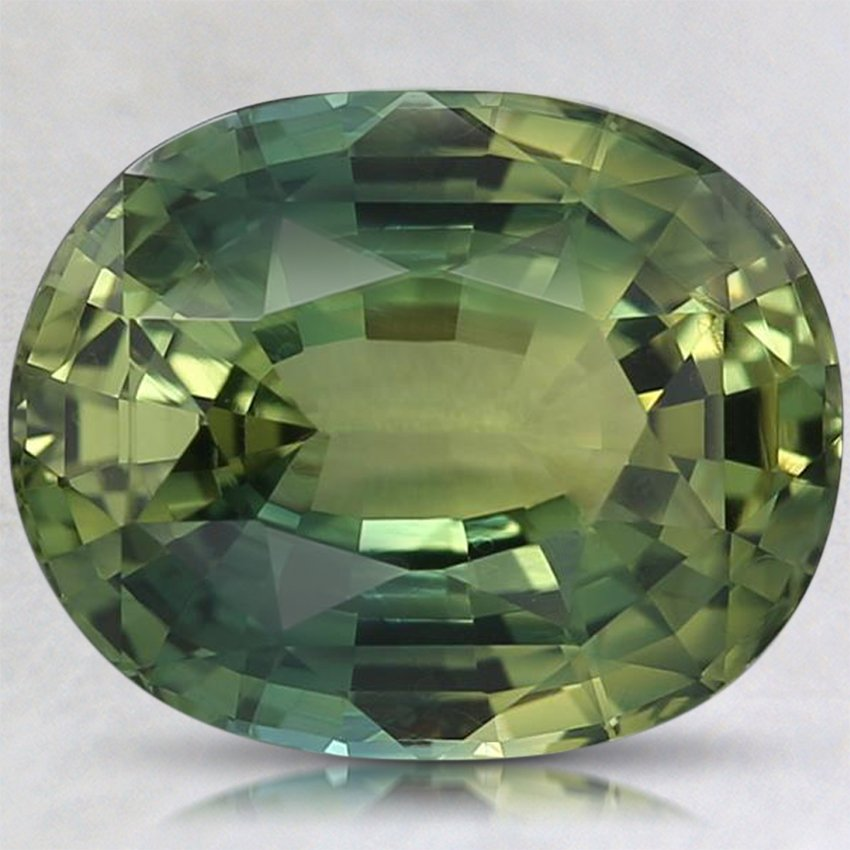 10x8mm Green Oval Sapphire, top view
