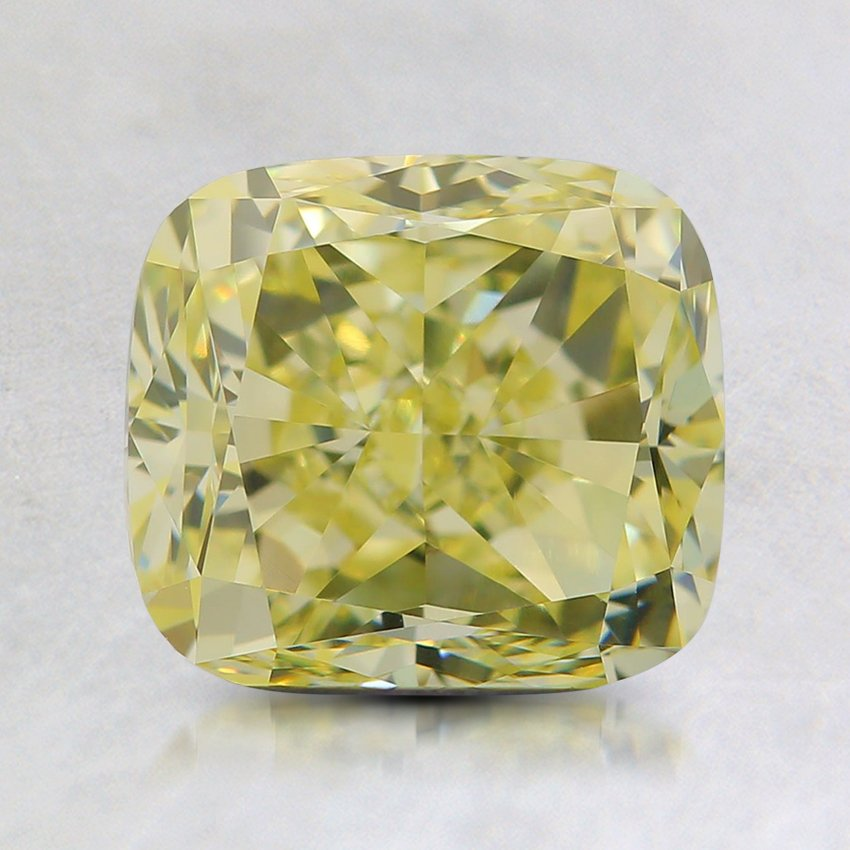2.02 Ct. Natural Fancy Light Yellow Cushion Diamond, top view