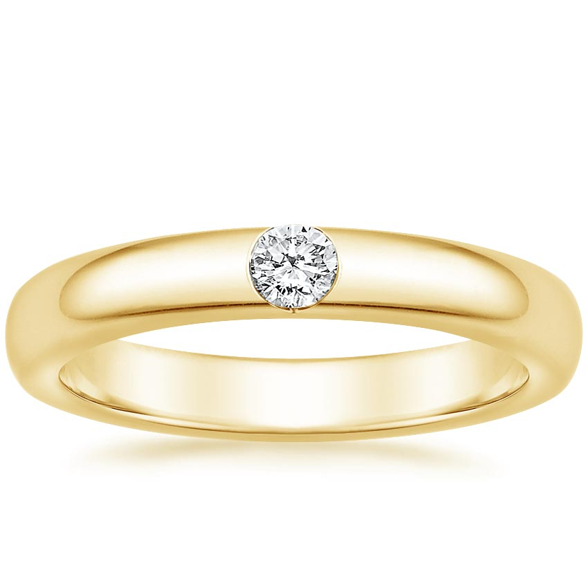 Yellow Gold Modern Single Stone Ring
