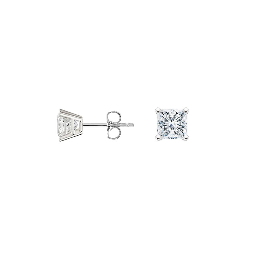 Top Twenty Gifts - 18K WHITE GOLD PRINCESS DIAMOND STUD EARRINGS (1/4 CT. TW.)
