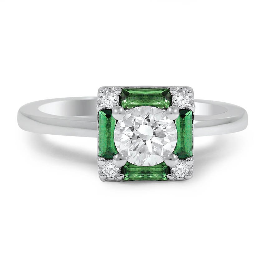 Custom Vintage-Inspired Emerald and Diamond Ring