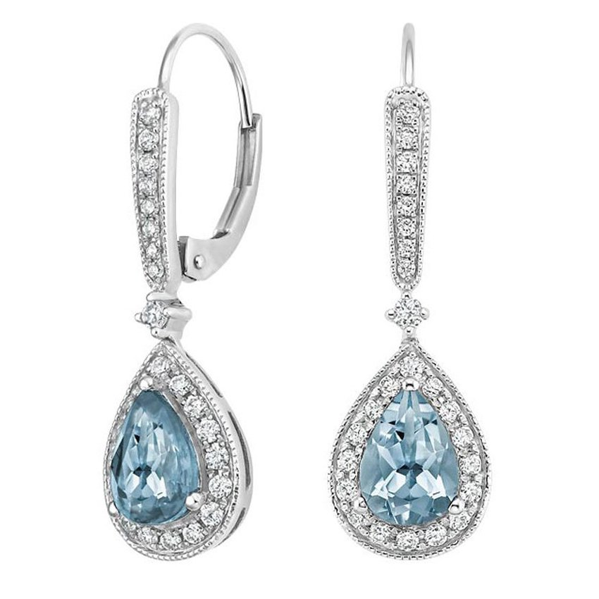 Skye Aquamarine and Diamond Earrings (1/3 ct. tw.) in 18K White Gold