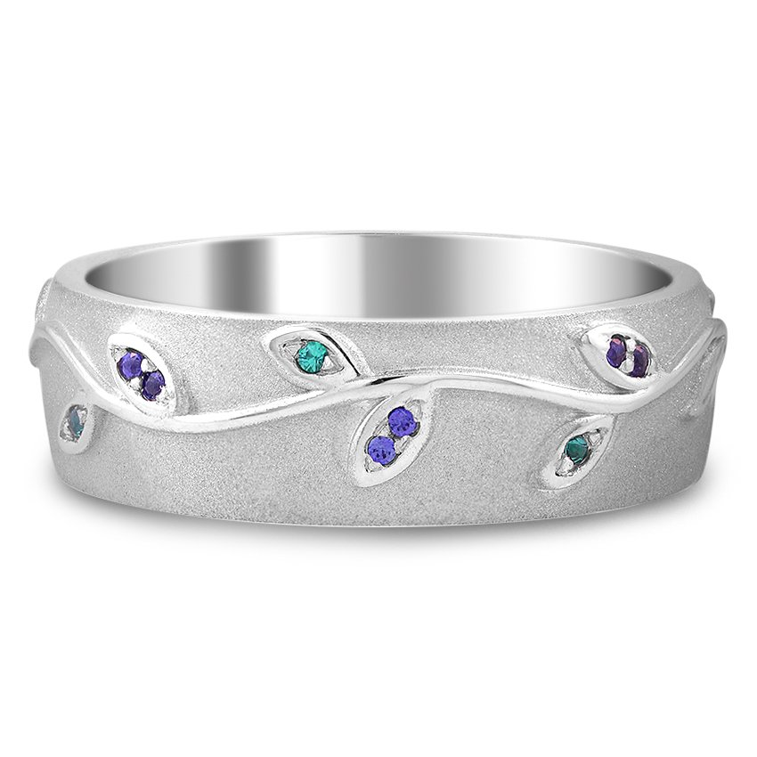 Custom Gemstone Vine Wedding Band