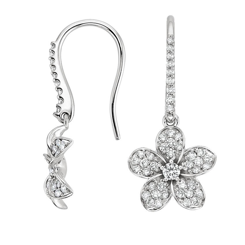 18K White Gold Plumeria Diamond Earrings, top view