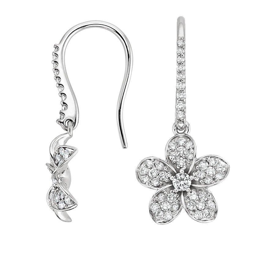 5ccdef0c1 Plumeria Diamond Earrings in 18K White Gold