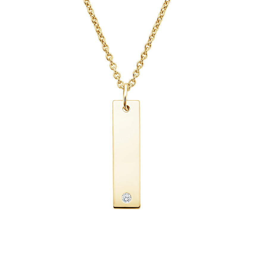 Engravable Bar Diamond Pendant