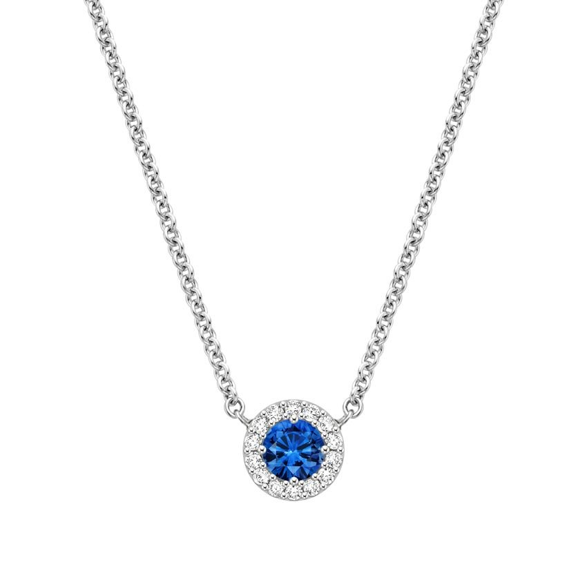 18K White Gold Sapphire Halo Diamond Pendant, top view