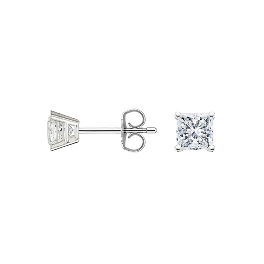 18K White Gold Princess Diamond Stud Earrings (1/2 ct. tw.), top view