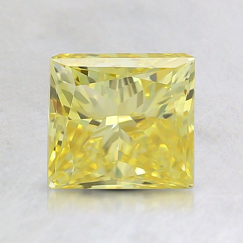 1.65 Ct. Fancy Vivid Yellow Princess Lab Created Diamond