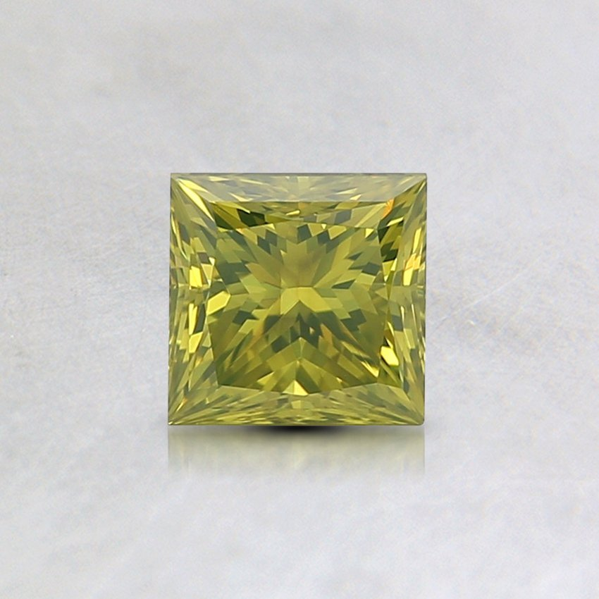 0.54 Ct. Lab Created Fancy Vivid Green-Yellow Princess Diamond, top view