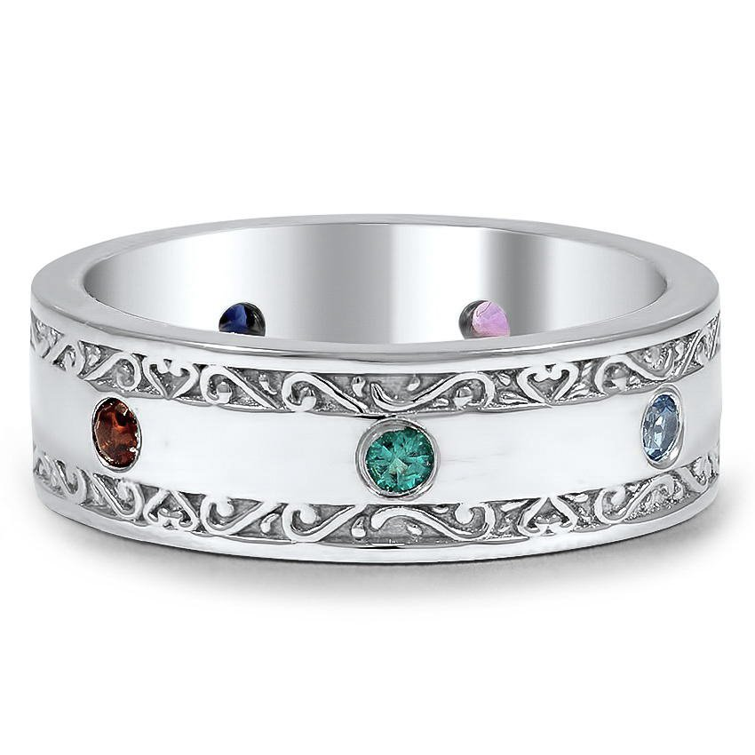 Custom Assorted Birthstone Antique Scroll Wedding Ring