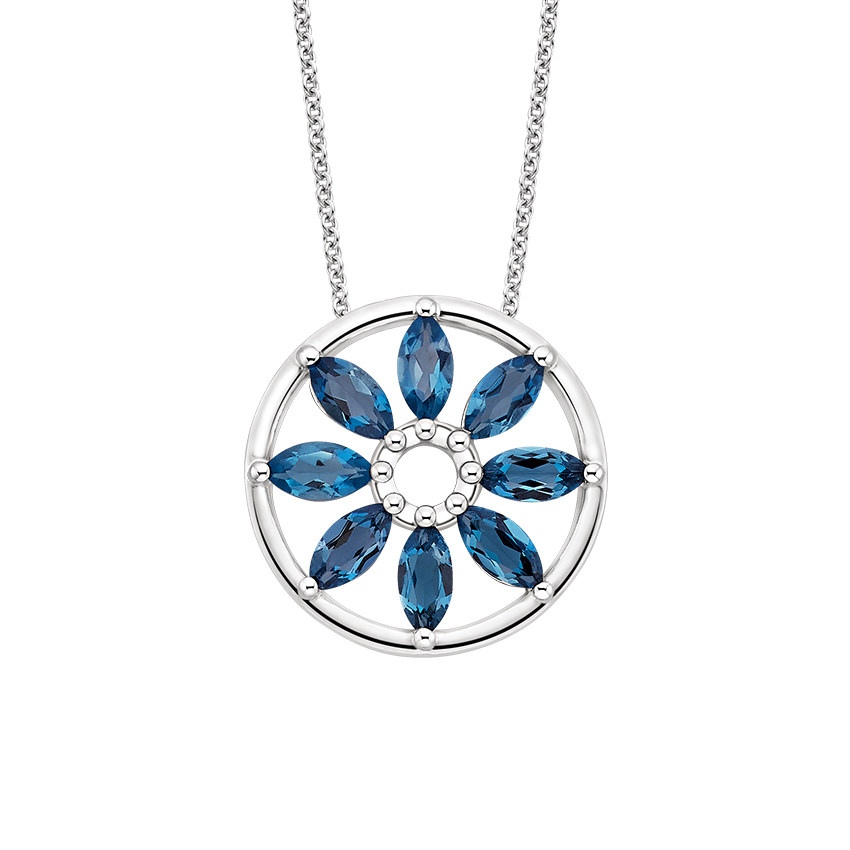 Sunflower London Blue Topaz Pendant