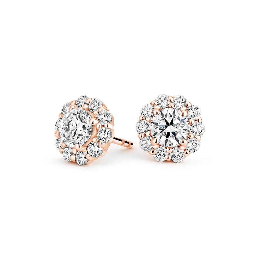 14K Rose Gold Lotus Flower Diamond Earrings (1/2 ct. tw.), top view
