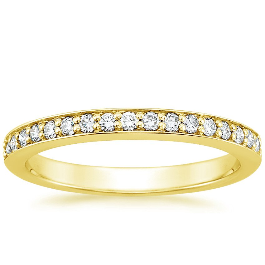 18K Yellow Gold Classic Pavé Diamond Ring (1/4 ct. tw.), top view