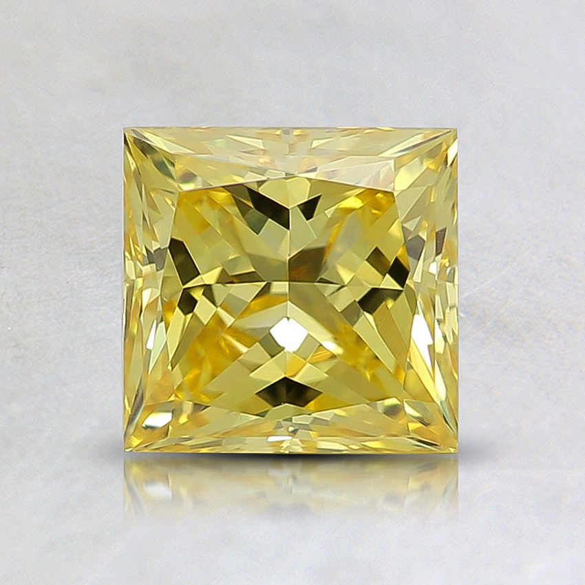 1.19 Ct. Fancy Vivid Yellow Princess Lab Created Diamond