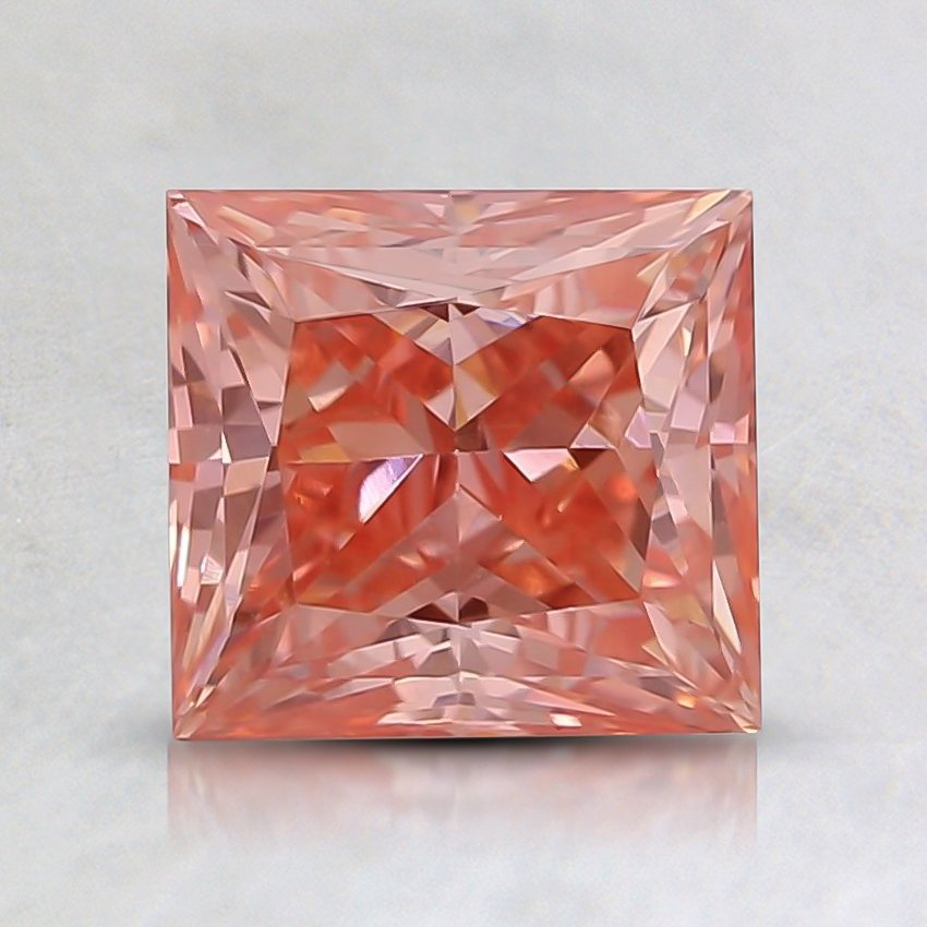 1.11 Ct. Fancy Intense Orangy Pink Princess Lab Created Diamond