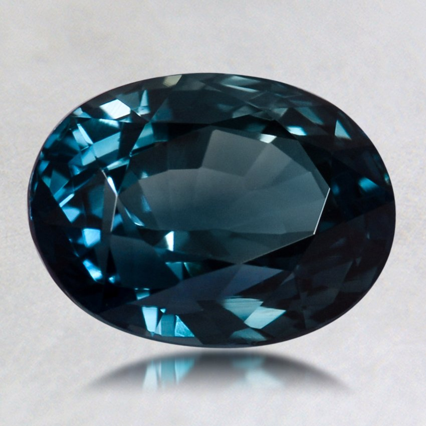 8.8x6.8mm Teal Oval Sapphire, top view