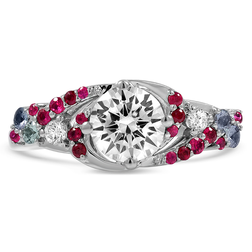 Custom Sweeping Diamond Ring with Ruby and Alexandrite Accents