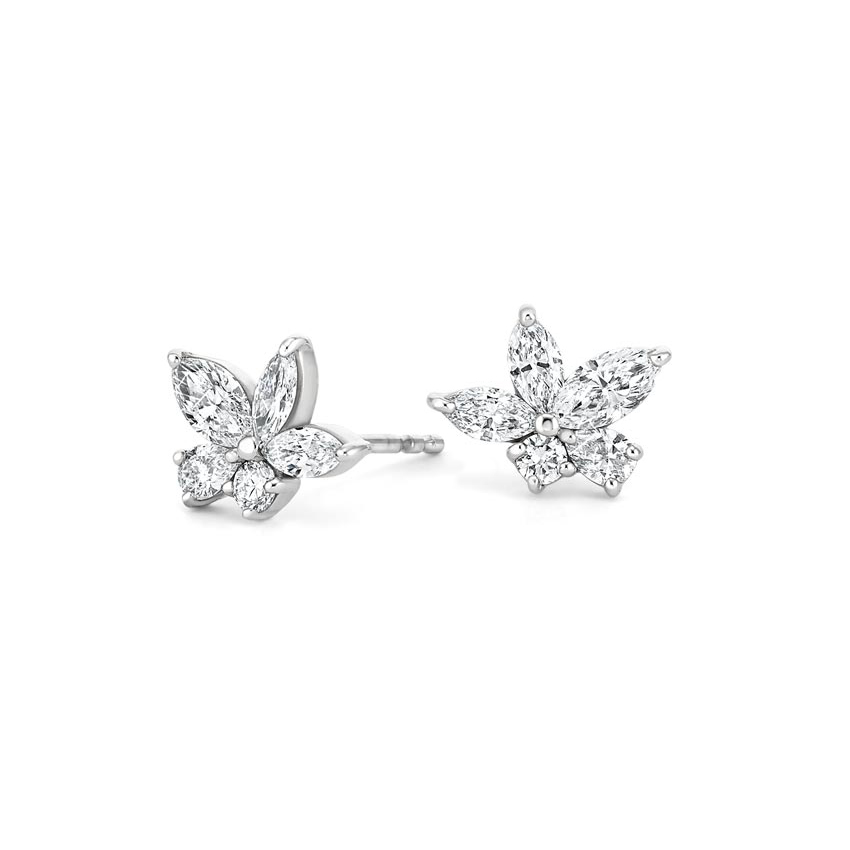 Abstract Flower Diamond Earrings