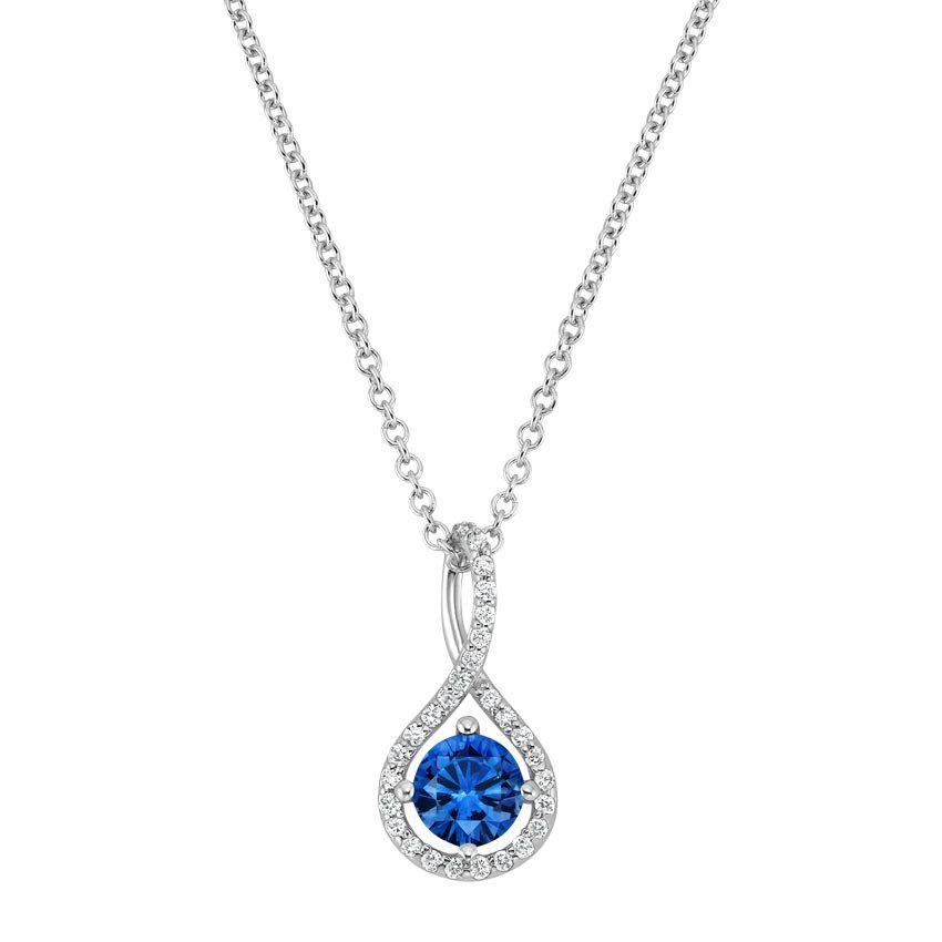 Top Twenty Gifts - 18K WHITE GOLD SAPPHIRE PAVÉ TWIST PENDANT