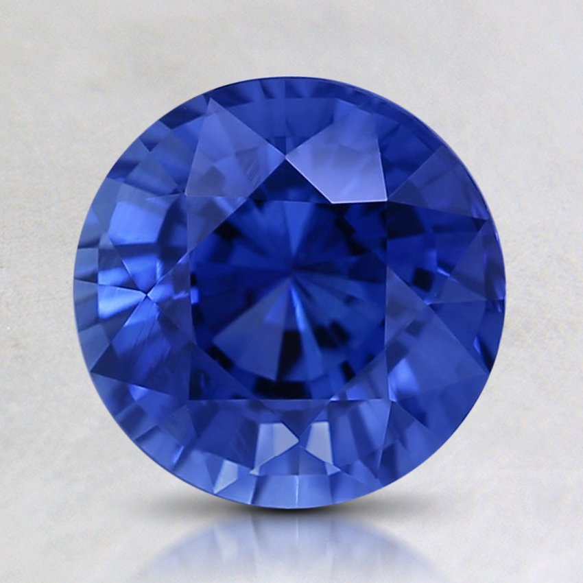 7.5mm Super Premium Blue Round Sapphire, top view