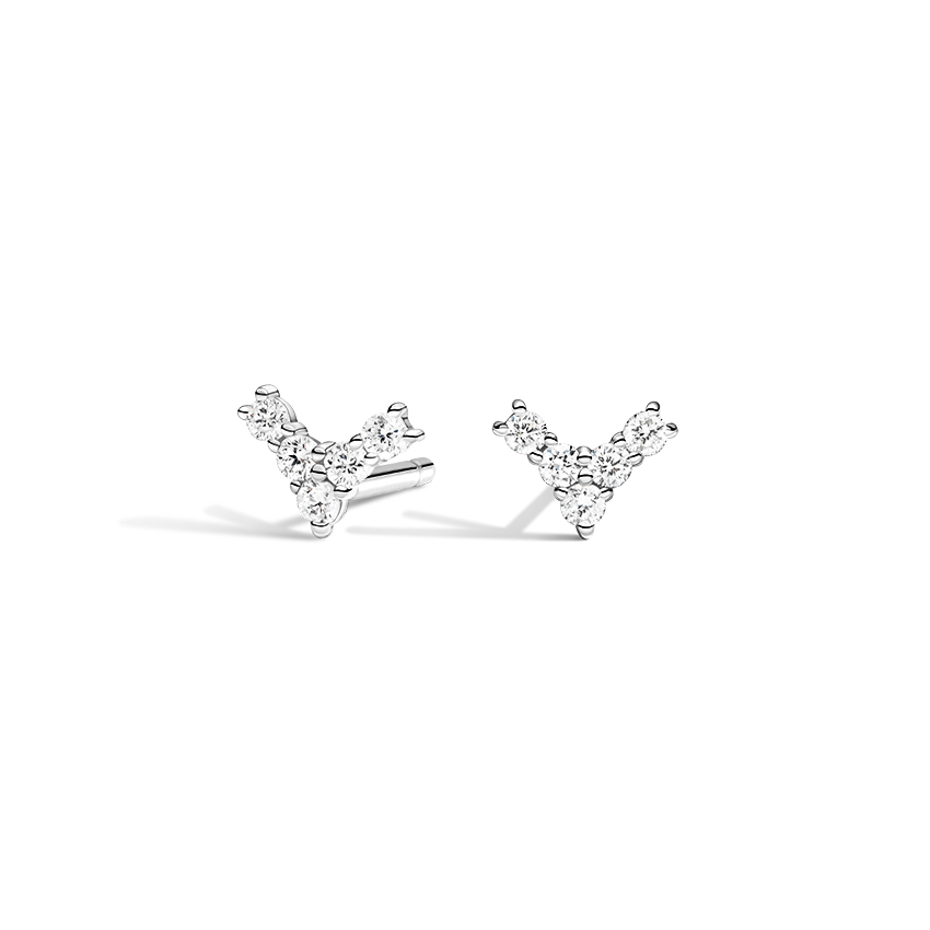 Chevron-Inspired Diamond Stud Earrings