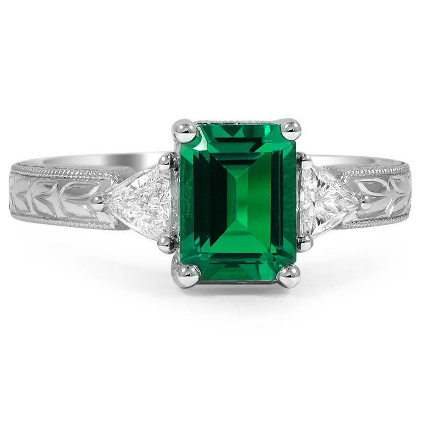 Custom Engraved Emerald Ring with Trillion Accents