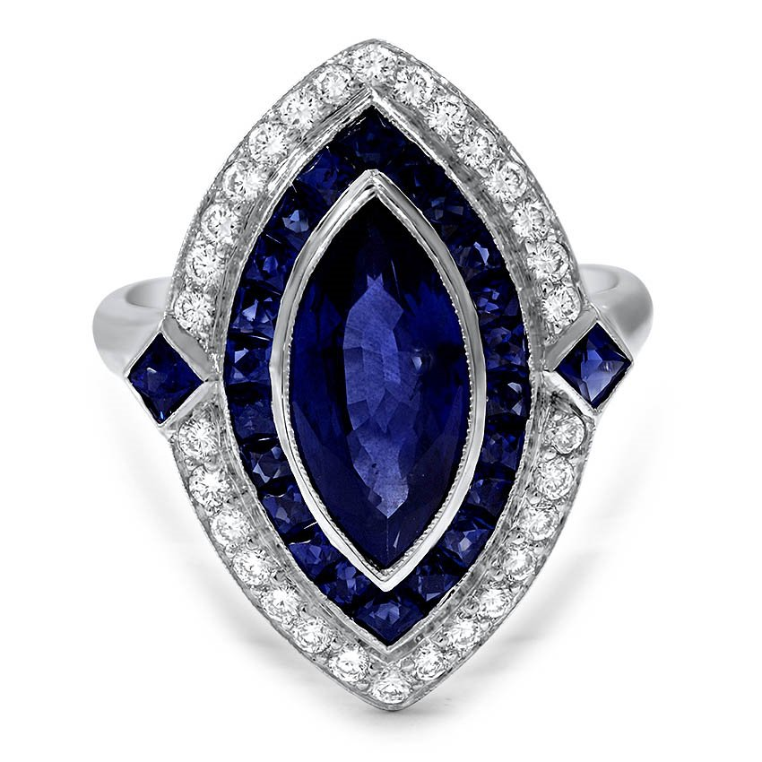 sapphire carve goldsmiths ring collection platinum mccaul and cocktail carved trillion purple