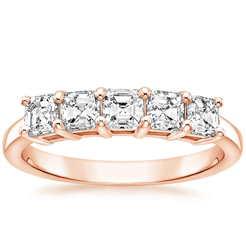 Rose Gold Asscher Five Stone Diamond Ring (1 ct. tw.)