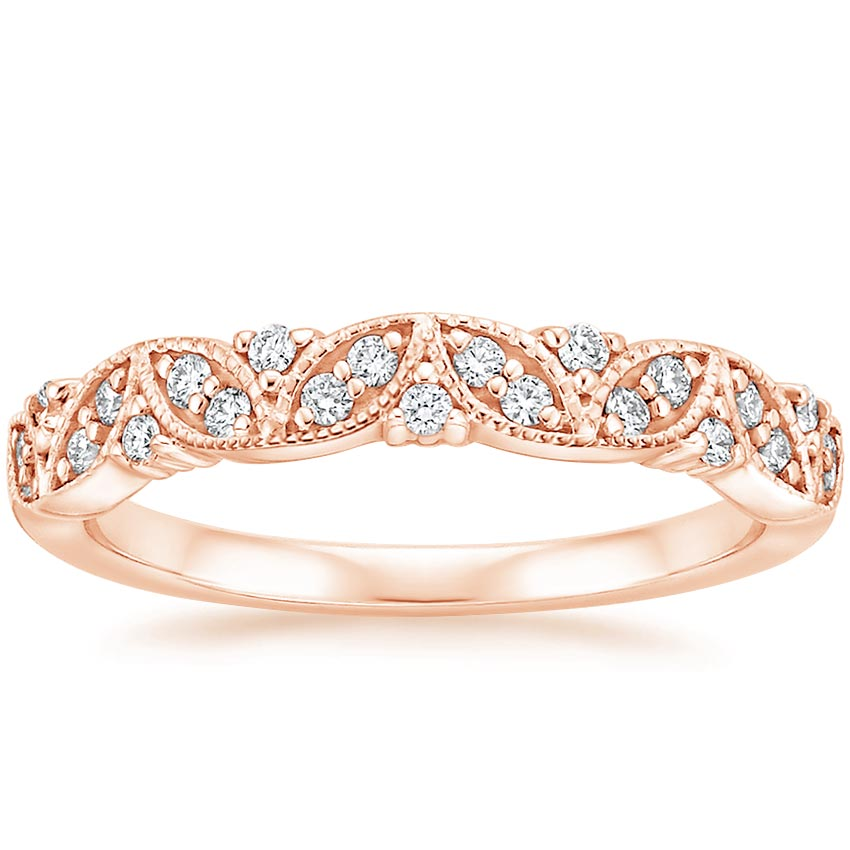Rose Gold Antique Floral Milgrain Diamond Ring