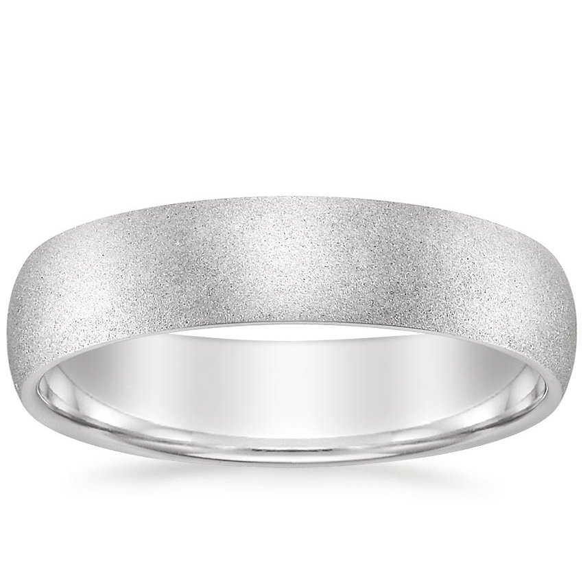 5mm Sandblasted Comfort Fit Wedding Ring in 18K White Gold