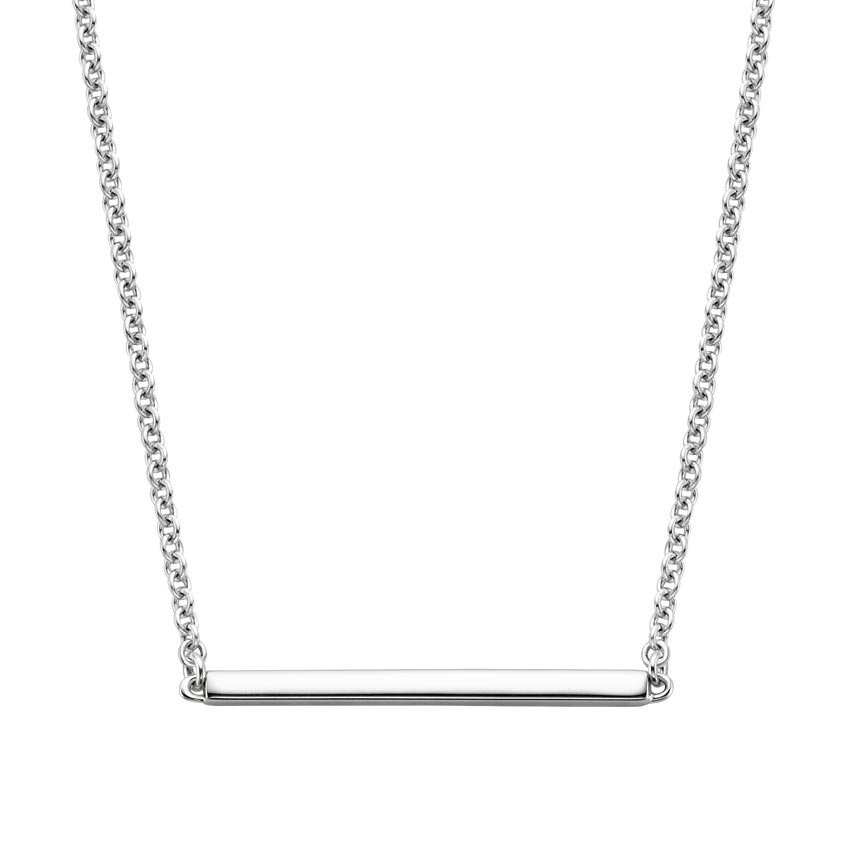 18K White Gold Fairmined Bar Pendant, top view
