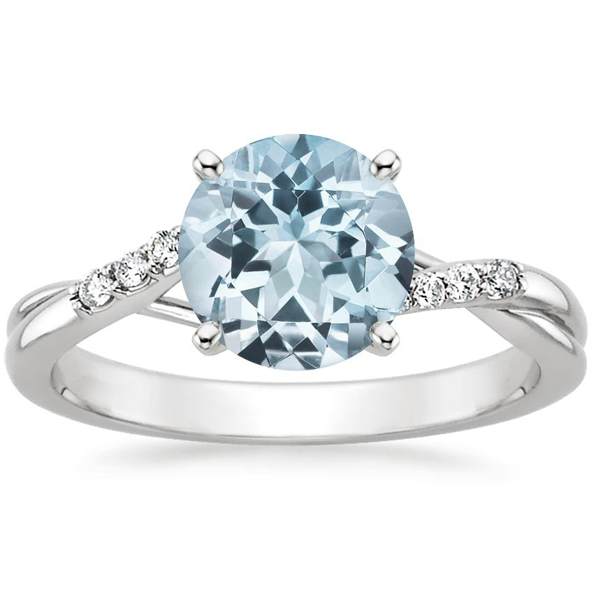 Aquamarine Chamise Diamond Ring (1/15 ct. tw.) in Platinum