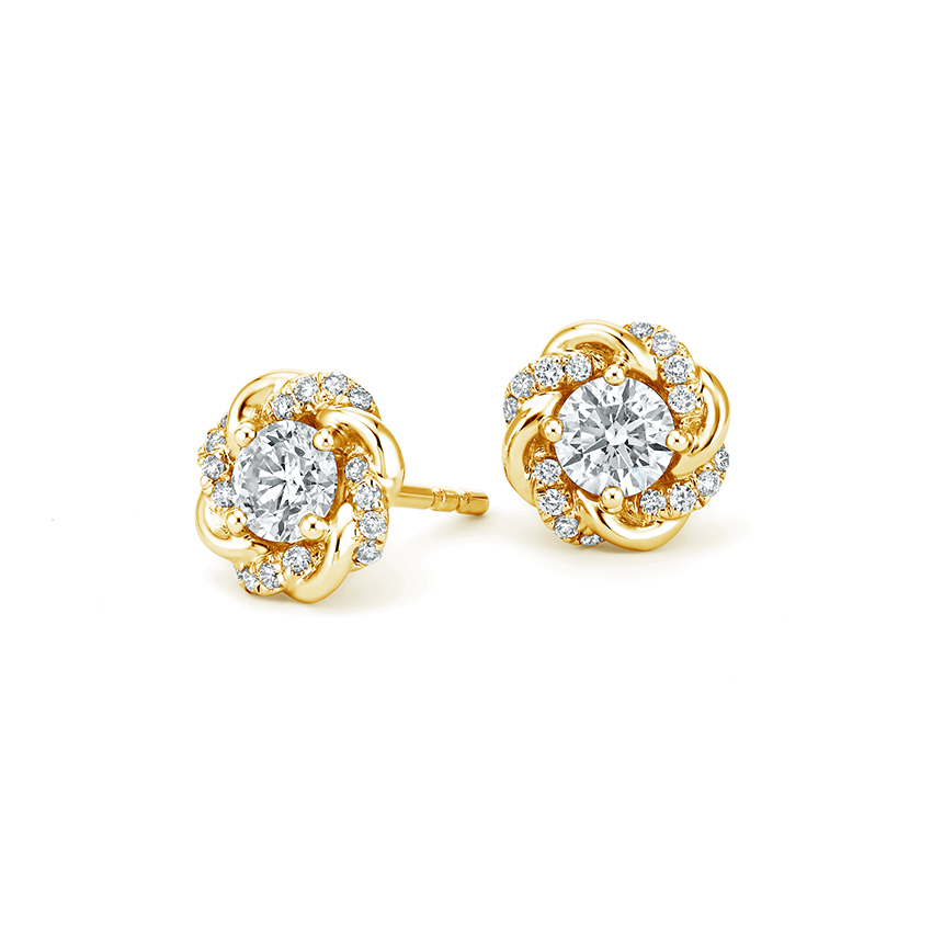 18K Yellow Gold Oceana Earrings, top view