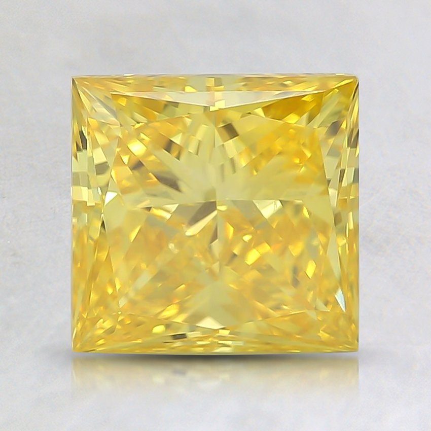 1.68 Ct. Fancy Vivid Orangy Yellow Princess Lab Created Diamond