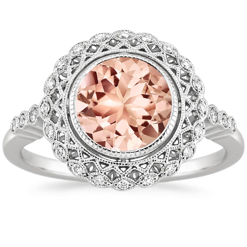 Morganite Alvadora Ring In 18k White Gold Brilliant Earth