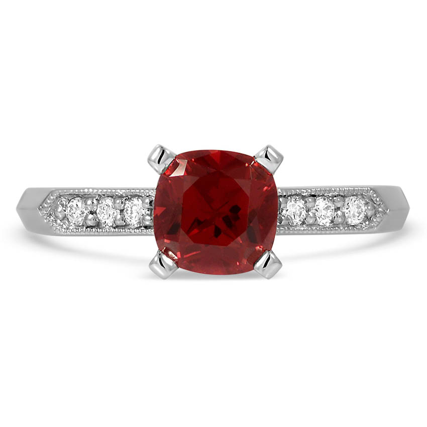 Custom Vintage Inspired Milgrain Ruby and Diamond Ring