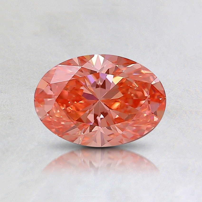 0.51 Ct. Fancy Vivid Orangy Pink Oval Lab Created Diamond