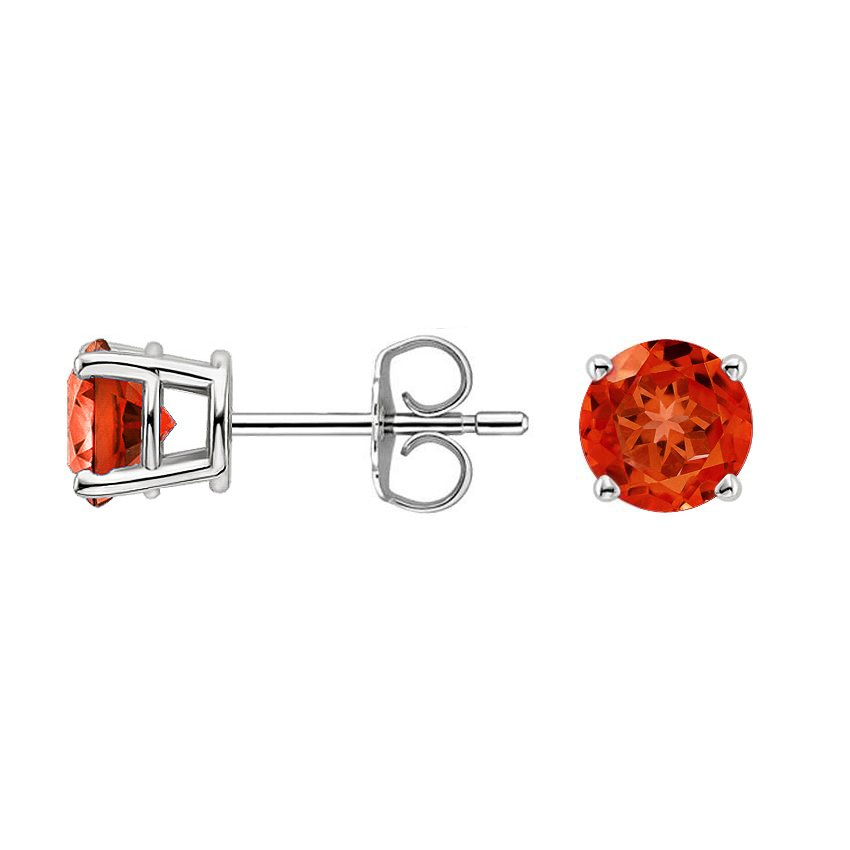 Silver Fire Citrine™ Stud Earrings (6mm), top view