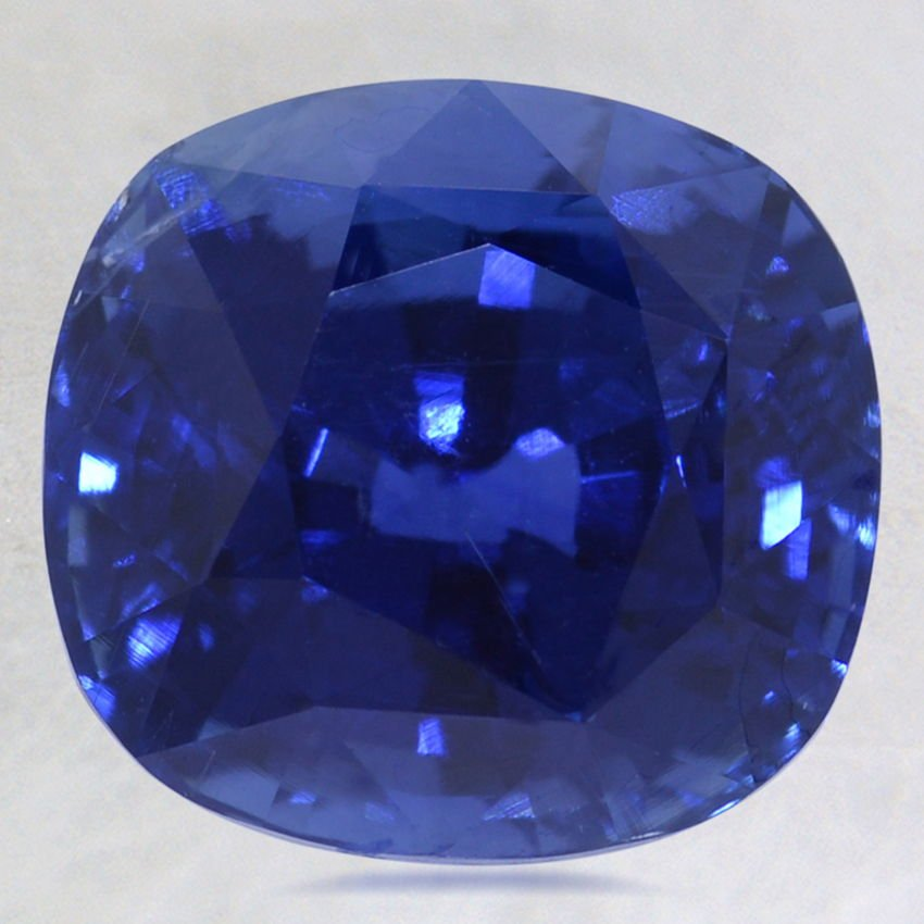 11.4x10.8mm Unheated Blue Cushion Sapphire, top view