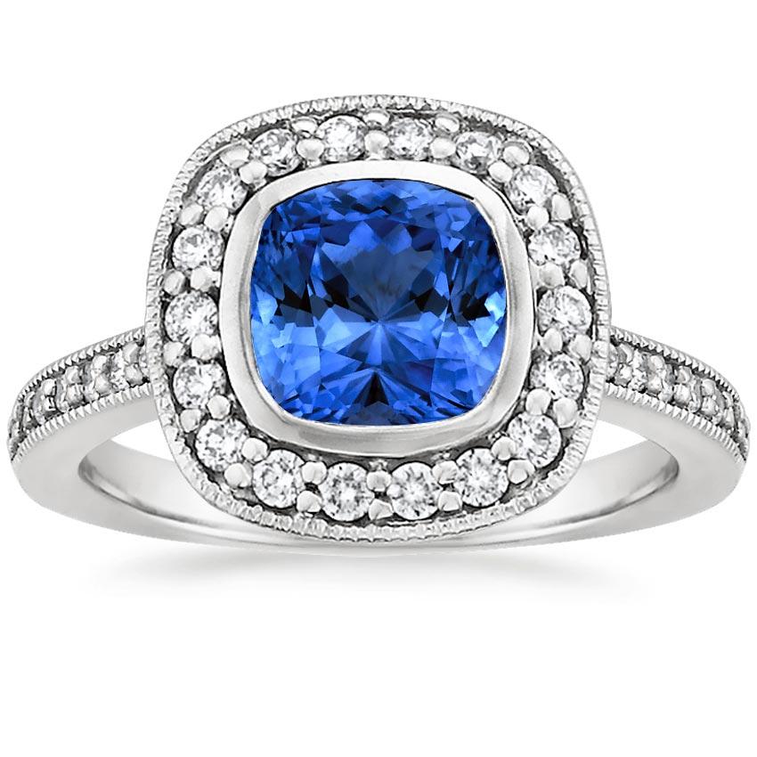 Sapphire Fancy Bezel Halo Diamond Ring With Side Stones In