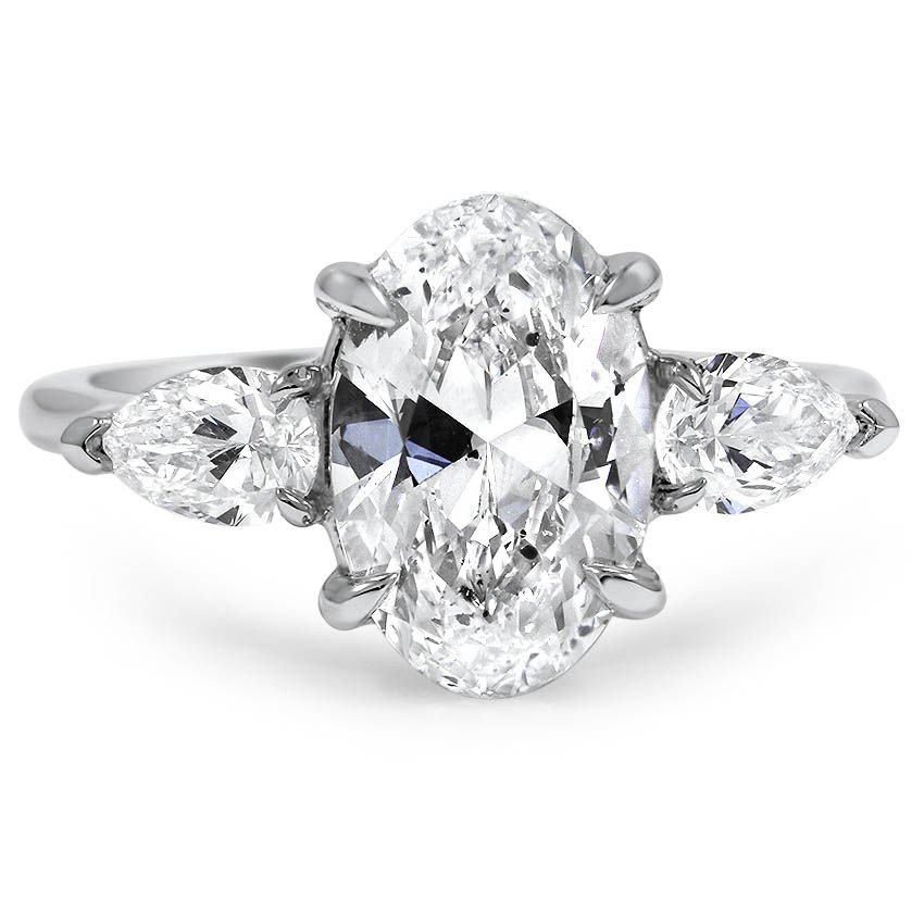 Custom Three Stone Diamond Engagement Ring with Pear Shaped Accents