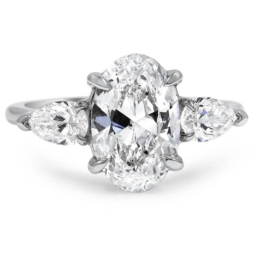 Custom Three Stone Diamond Engagement Ring With Pear