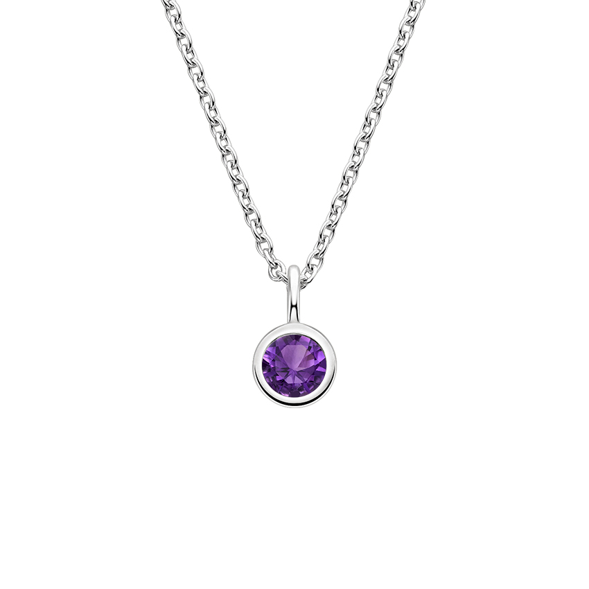 Bezel Amethyst Necklace