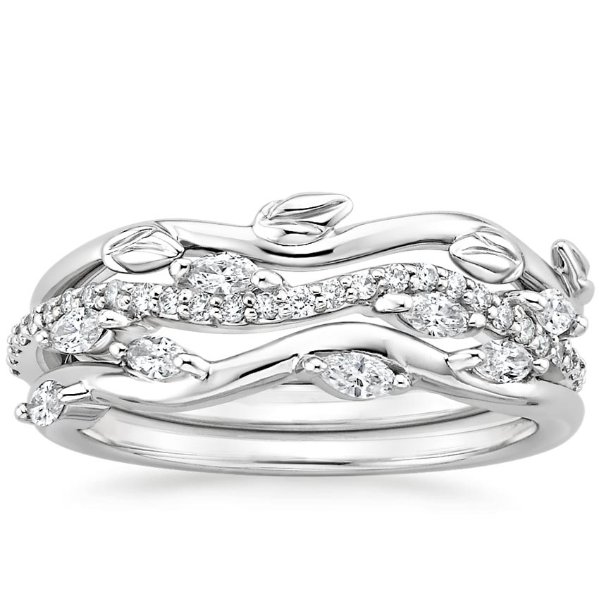 Winding Willow Diamond Ring Stack in 18K White Gold