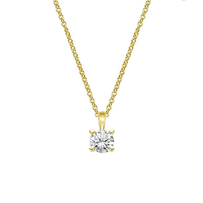 18K Yellow Gold Four-Prong Diamond Pendant (1/2 ct. tw.), top view