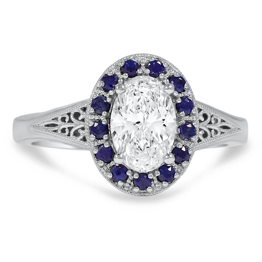 Custom Sapphire Accented Halo Ring with Ornate Filigree Details