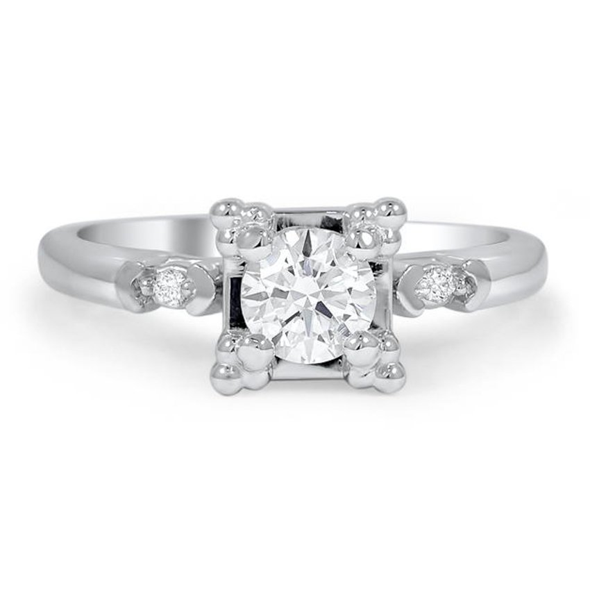 Custom Retro Inspired Diamond Ring with Accent Bead Prongs